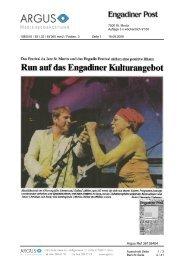 Run auf das Engadiner Kulturangeb ot - Festival da Jazz St. Moritz