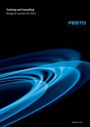 Training and Consulting Range of courses for 2011 - Festo Didactic