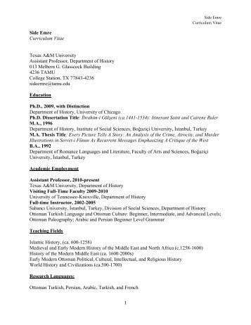 Curriculum Vitae (PDF) - Department of History - Texas A&M University