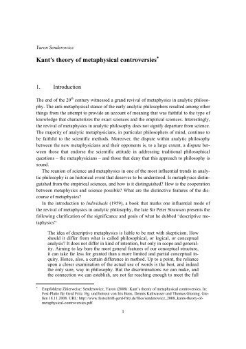 Kant's theory of metaphysical controversies - Festschrift Gerd Fritz
