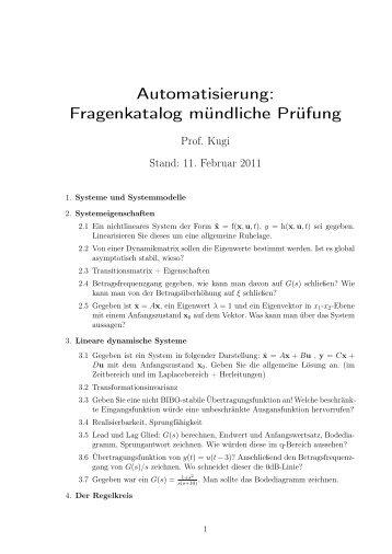 Automatisierung: Fragenkatalog mündliche Prüfung