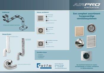Een compleet assortiment hoogwaardige ventilatiesystemen