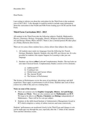 Third Form Curriculum 2012 - 2013