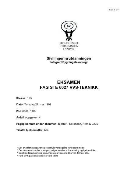 Eksamen 1999 - Høgskolen i Narvik - hovedside