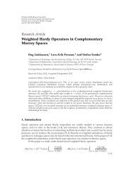 Research Article Weighted Hardy Operators in Complementary ...