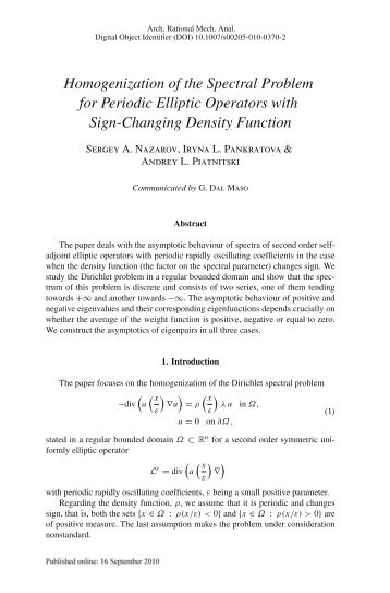Homogenization of the Spectral Problem for Periodic Elliptic ...
