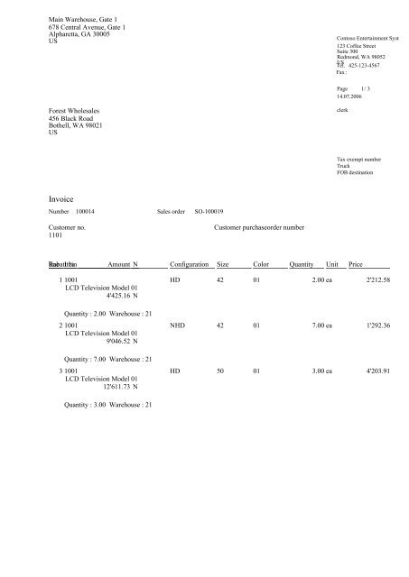 Invoice 100014 - Report - Webshop Stabo