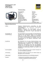 Kolbenkompressor, mobil CompactMaster CPM 212-10-2 W Art.-Nr ...