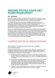 nieuwe pistes voor het kunstendecreet - Muziekcentrum Vlaanderen