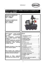 Návod na montáž a údržbu konzole na doplňování pitné vody GRAF