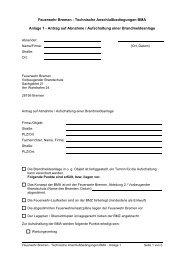 Antrag auf Abnahme / Aufschaltung einer Brandmeldeanlage
