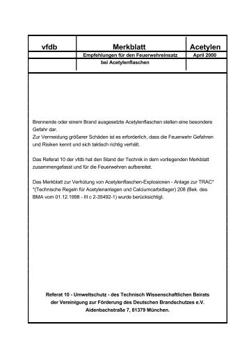 Merkblatt Acetylen, 04.2000 - Feuerwehr Fulda