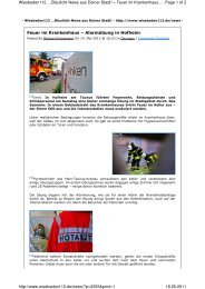 Feuer im Krankenhaus - Feuerwehr Marxheim