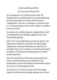 Besuch S-Bahn Rhein-Neckar - Feuerwehr Meckesheim