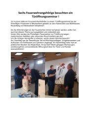 Bericht Türöffnungsseminar - Feuerwehr Meckesheim