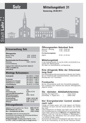 Mitteilungsblatt 31 / 2011 - Stadt Lahr