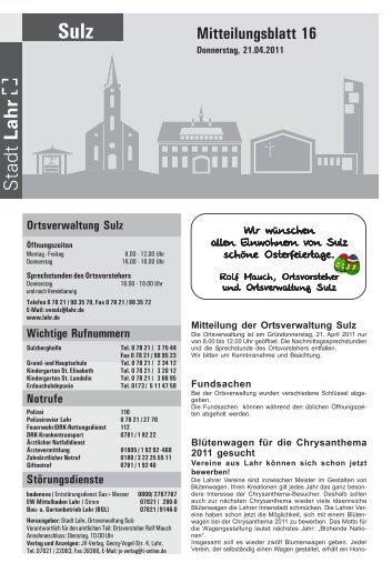Mitteilungsblatt 16 / 2011 - Stadt Lahr