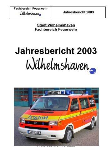 Fachbereich Feuerwehr Jahresbericht 2003