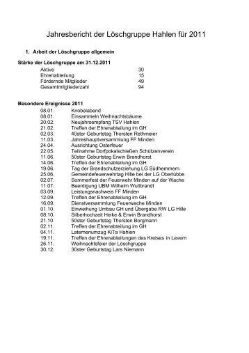 Jahresbericht der Löschgruppe Hahlen 2006 - Feuerwehr Minden
