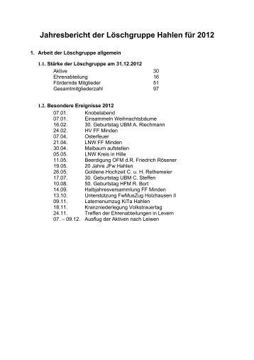 Jahresbericht der Löschgruppe Hahlen für 2012 - Feuerwehr Minden