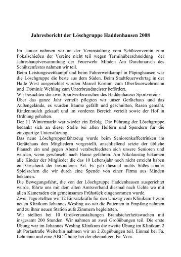 Jahresbericht 2008 - Feuerwehr Minden