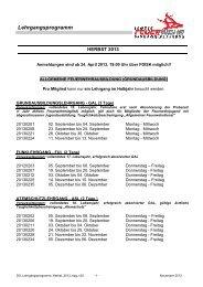 Das aktuelle Lehrgangsprogramm Herbst 2013
