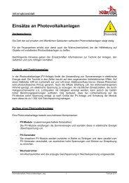 Informationsblatt Photovoltaikanlagen