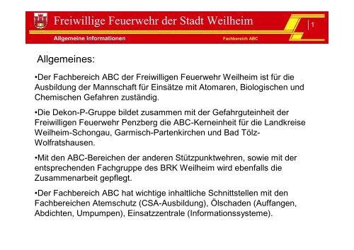FB ABC - Freiwillige Feuerwehr Weilheim