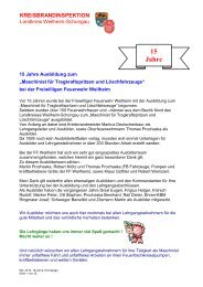 15 Jahre - Freiwillige Feuerwehr Weilheim