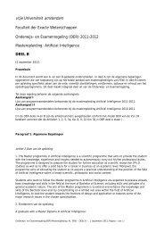 Artificial Intelligence - Faculteit der Exacte Wetenschappen, Vrije ...