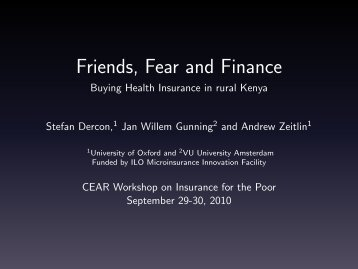 Friends, Fear and Finance - Buying Health Insurance in ... - Feweb
