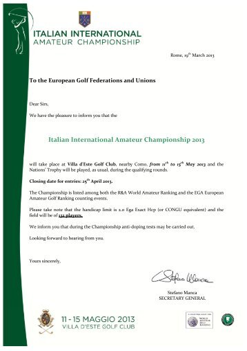 Italian International Amateur Championship 2013