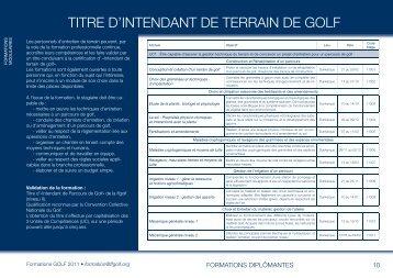 TITRE D'INTENDANT DE TERRAIN DE GOLF