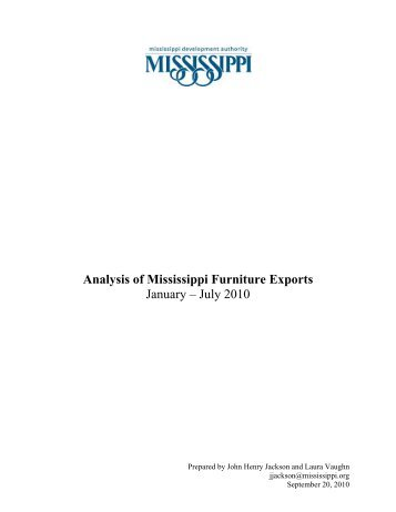 Analysis of Mississippi Furniture Exports January – July 2010