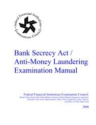 Bank Secrecy Act/Anti-Money Laundering Examination Manual - ffiec