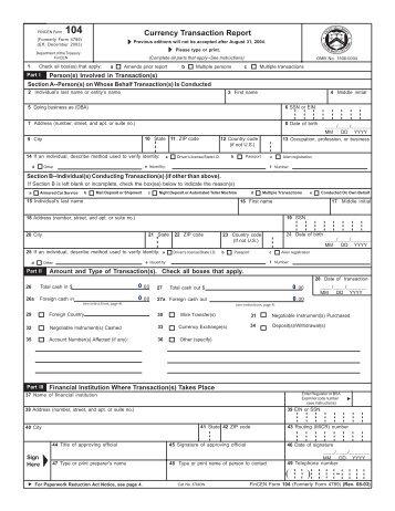 Fincen Form 105 Rev 7 2003