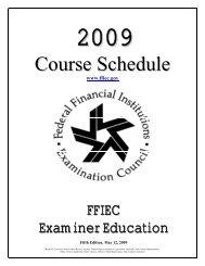 2009 Schedule of FFIEC Courses