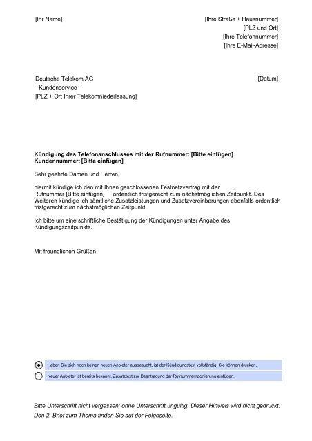telekom festnetzvertrag kündigen