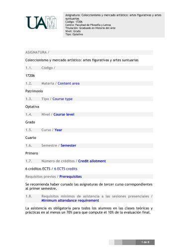 ASIGNATURA / Coleccionismo y mercado artístico: artes figurativas ...