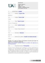 1. ASIGNATURA / COURSE 1.1. Nombre / Course Title Estética II ...