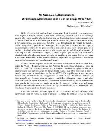 Ciro BIDERMAN Nadya Araújo GUIMARÃES O Brasil se ... - fflch