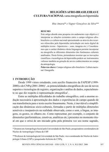 Religiões afro-brasileiras e cultura nacional: uma ... - fflch - USP