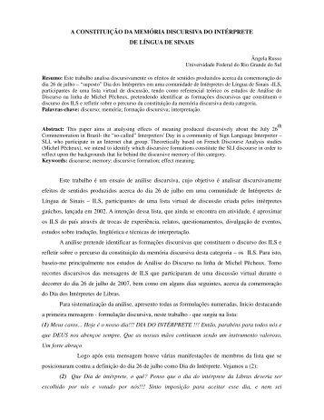 A CONSTITUIÇÃO DA MEMÓRIA DISCURSIVA DO ... - fflch