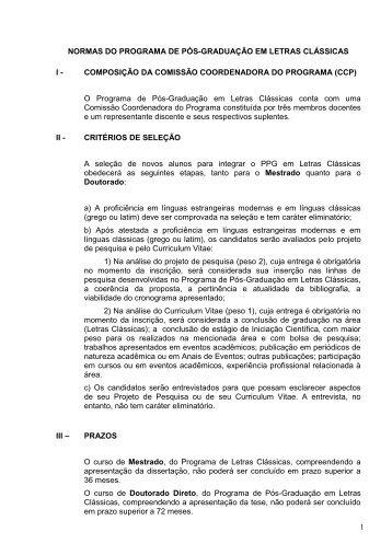 1 NORMAS DO PROGRAMA DE PÓS-GRADUAÇÃO ... - fflch - USP