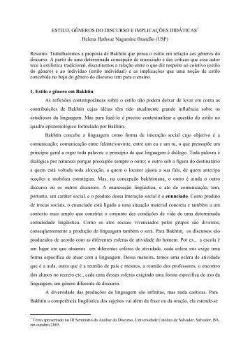 Estilo, gêneros do discurso e implicações didáticas - fflch - USP