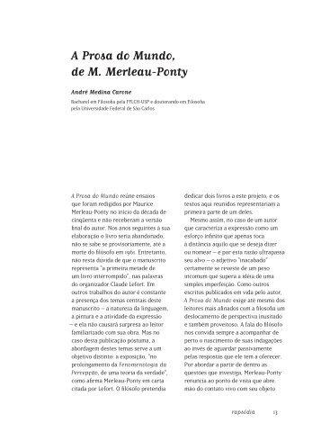 A Prosa do Mundo, de M. Merleau-Ponty - fflch - USP