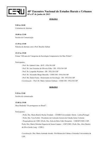 Programação do evento - fflch - USP