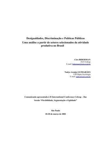 Desigualdades, discriminação e políticas públicas: uma ... - fflch - USP