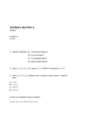 Teorija skupova - razni zadaci