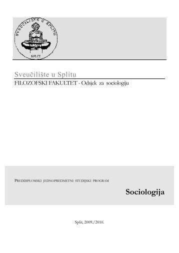 Sociologija - Filozofski fakultet u Splitu